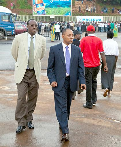Crystal Ventures chairperson Manasseh Nshuti (L) and CEO John Bosco Birungi arrive at the expo