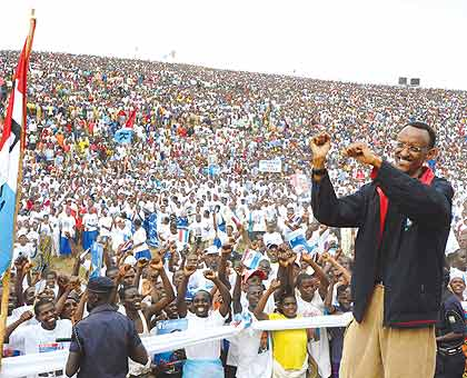 RPF Chairman Paul Kagame during the 2010 presidential campaigns in Gicumbi District.  The New Times / File.