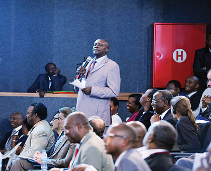 Businessman Silas Majyambere making his investment pledge during last year's Dialogue at Parliament. The New Times/File.