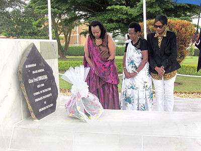 The family of the late Maj. Gen. Fred Gisa Rwigema lay a wreath at the National Heroes Mausoleum in Remera, Kigali, yesterday.