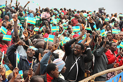 Nyamagabe residents welcome President Kagame during his visit to the Southern Province mid last month. Opinion is divided over his plans to call it quits in 2017. The New Times/File.