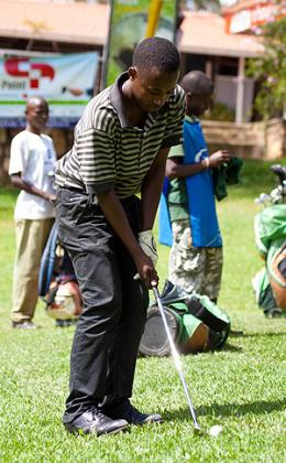 Twenty-two year old Aphrodis Nyirinkwaya started playing competitive golf four years ago but he is now the Rwanda Open champion.  The New Times / T. Kisambira.