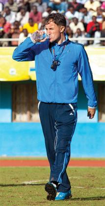 Micho cools himself down before the second half kick off. The New Times/T. Kisambira.