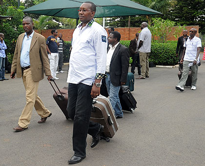 Local leaders heading for the National Retreat last year. The New Times/John Mbanda.