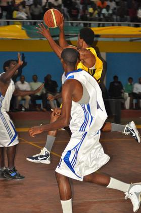 National team forward Kami Kabange goes up for a basket during the All-Star game at the end of the just concluded season. The New Times/ P. Muzogeye.