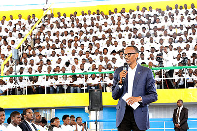 President Kagame addresses the youth at Meet The President function.