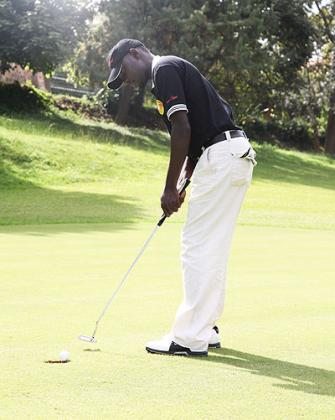 Lead golfer Emmanuel Ruterana competing in a previous KCB Open in Rwanda. He is undergoing intensive preparations ahead of Kenya Open due next month in Mombasa.  The New Times / File.