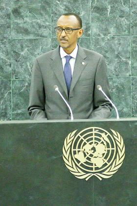 President Kagame addresses the 68th UN General Assembly last week.