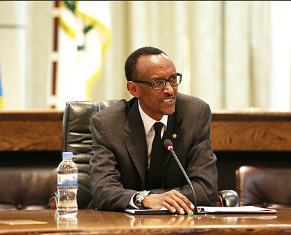 President Kagame addresses the media at Village Urugwiro yesterday . The New Times/ Village Urugwiro