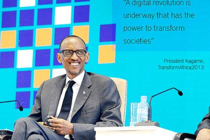 President Kagame enjoys proceedings shortly after his address to participants at the Transform Africa Summit.