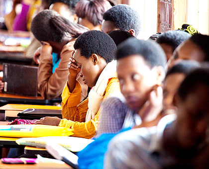 Students in a lecture. The government is set to come up with a new push to recover billions of francs in student loans. The New Times/ Timothy Kisambira.