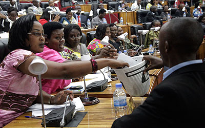 Women parliamentarians voting for a new Speaker