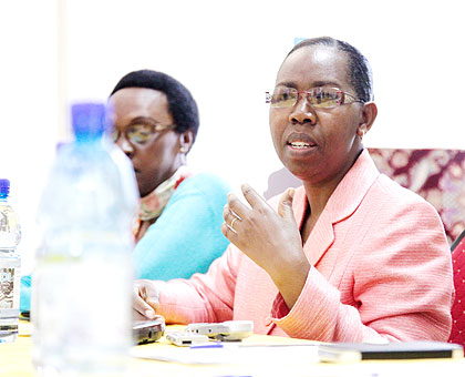 Ombudsman  Cyanzayire (R) together with Ingabire during the coalition meeting this week.  The New Times/ Timothy Kisambira.