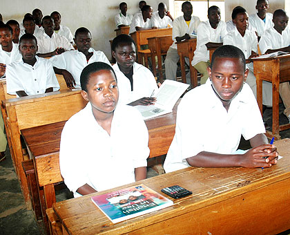 Students at Nyange Secondary School. Mineduc is introducing hi-tech system of collecting school date. The New Times/ File.