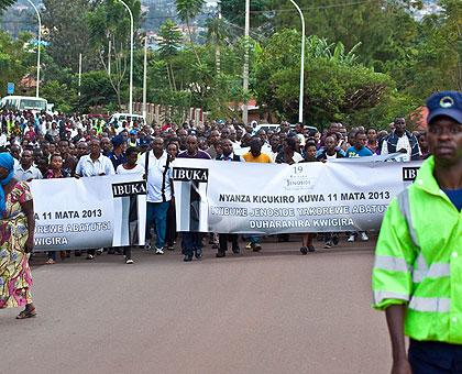 People walking in commemoration of the 1994 Genocide victims. Timothy Kisambira