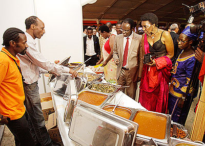 City of Kigali Mayor Fidèle Ndayisaba and other guests at the Egyptian stall. All photos by Timothy Kisambira.