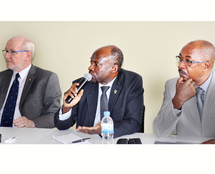 L-R: Professors McWha, Ijumba and Manaseh Mbonye at the media briefing in Kigali yesterday. Courtesy.
