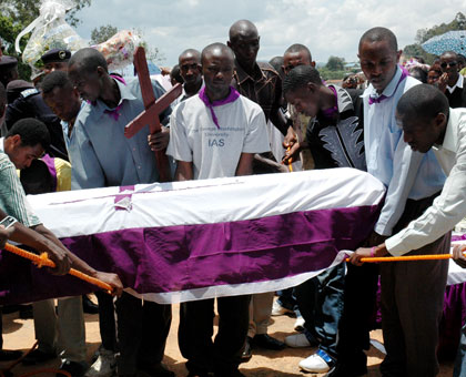 Relatives give Genocide victims a decent burial at Kigali Genocide Memorial Centre in a past ceremony. File.