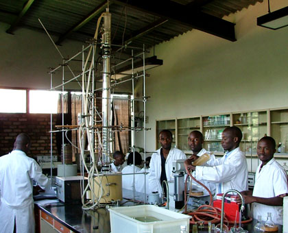 Pharmacy students in a labaratory at Huye campus. The University of Rwanda has attracted some 13,000 applicants in its maiden intake since the merger. File.