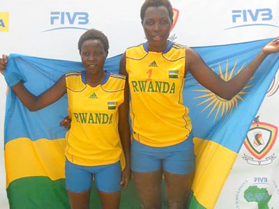 The African beach volleyball queens Uwimbabazi and Mukantambara are part of Bitok's team for Africa Youth Games. (Courtesy)