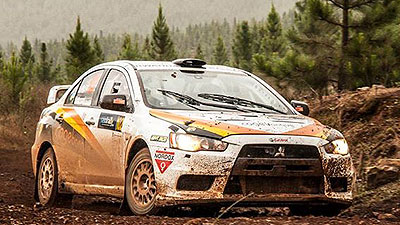 Giancarlo and Vindvogel seen cruising their Mitsubishi EVO10 in last month's Sasol Rally. They must secure points in this weekend's rally to keep in the race for ARC title. Courtesy.