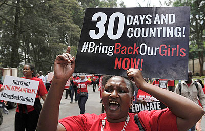 While Nigerian women hit the streets in protest, the rest of the world showed their support through the now very popular bring back our girls campaign on social media. Net photo