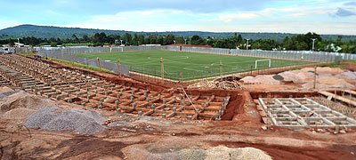 The master hybrid grass has been installed at Huye stadium but construction works are yet to be finalised. Courtesy