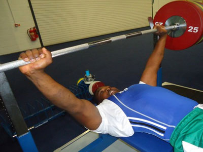 Powerlifter Theogene Hakizimana, seen here during a training session, is part of the team for the Glasgow Games. (File)