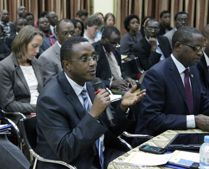 Education minister Vincent Biruta speaks at the Joint Review of Education Sector meeting in Kigali yesterday. John Mbanda.