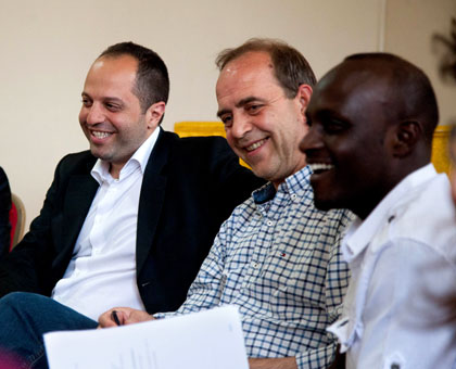 <p>L-R: Benjamin Abtan, the president of (EGAM),  French journalist Patrick de Saint Exup&eacute;ry, and Alain Intwaza, the coordinator of GAERG, an association of  youth Genocide survivors, hours after the arrival of the European youth in Kigali yesterday. T. Kisambira.</p>
