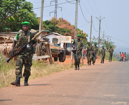Rwanda Defence Forces peacekeepers patrol a street in Central African Republic early this year. (Courtesy)