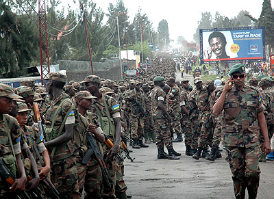 RDF troops leaving DRC after Operation Umoja Wetu in 2009. Such offensives have been mounted to rout the FDLR out of DR Congo. File