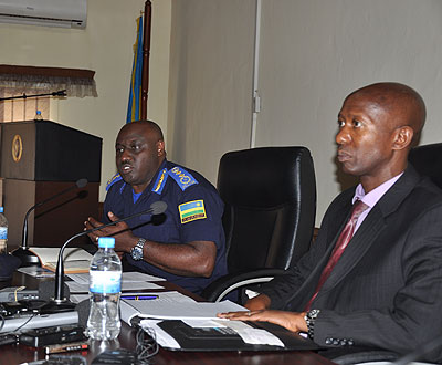 Internal Security minister Sheikh Musa Fazil Harelimana and IGP Emmanuel K. Gasana at the news briefing yesterday. Courtesy