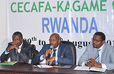 Ferwafa chief Degaule Vincent Nzamwita (C) addressing the media yesterday. On his right is Cecafa Secretary General Nicholas Musonye and 1st vice president Raoul Gisanura (L). Courtesy.