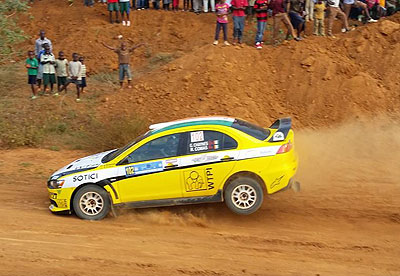 Gary Chaynes of Ivory Coast cruises his Mistubishi Evo X during the Super Stage action at Gahanga Quarry in the Rwanda Mountain Gorilla rally.