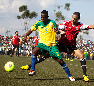 Amavubi Stars captain Haruna Niyonzima, seen here in action against Libya in the previous Afcon qualifying round, is confindent of upsetting Congo on August 2. Timothy Kisambira.