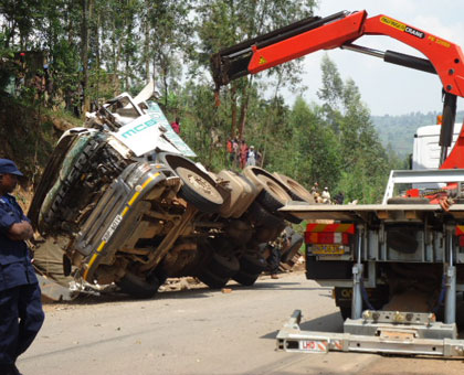 An accident that occurred at the Kumukobwa mwiza spot in the recent past killing a cyclist on spot. File.