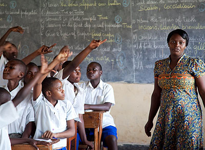 A teacher conducts a lesson at Kimisagara Primary School in the recent past. File.