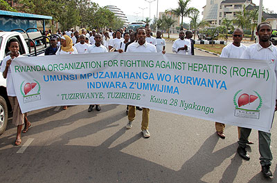 Participants were involved in a match against Hepatitis. Experts have called for concerted effort to curb the disease.  John Mbanda.