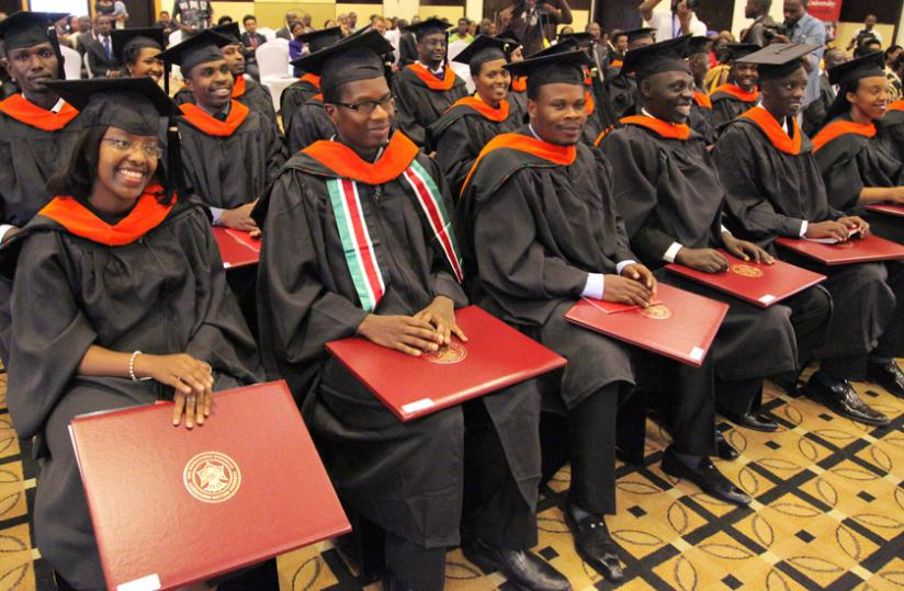 The graduates of Carnegie Mellon University listen to speeches late last month. (Timothy Kisambira)