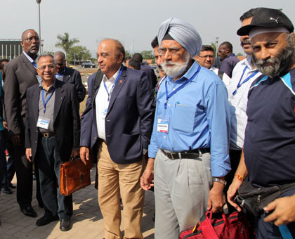 The Indian surgeons, led by Dr Rajendra Saboo of Rotary International (centre), on arrival at the Kigali international airport yesterday. John Mbanda.
