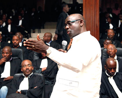 Minister Busingye addresses judges and advocates during a past meeting. (File)
