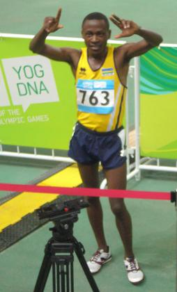 James Sugira celebrates after he qualified for the 1500m final set for Sunday. Courtesy photo.