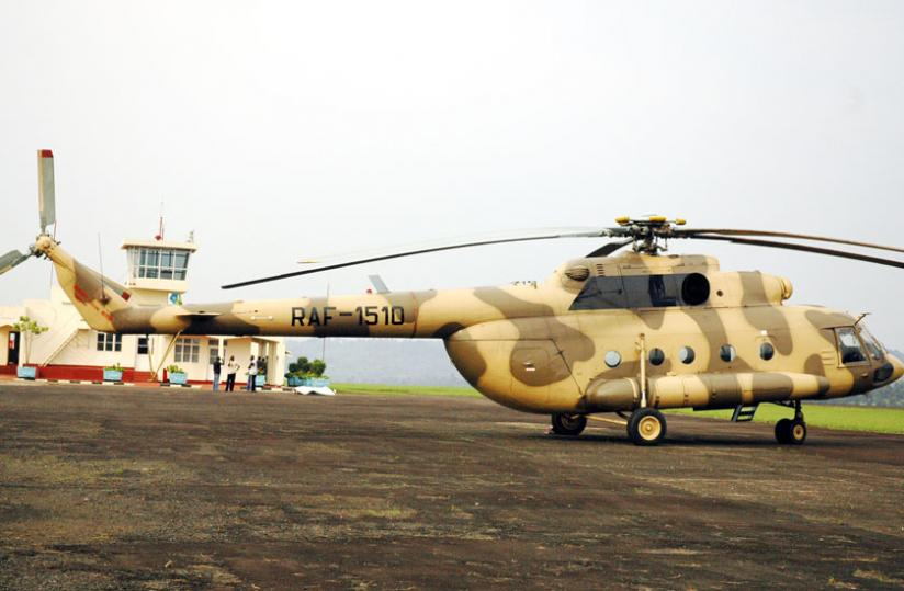 A Rwanda Air Force helicopter at Kamembe Airport. (File)