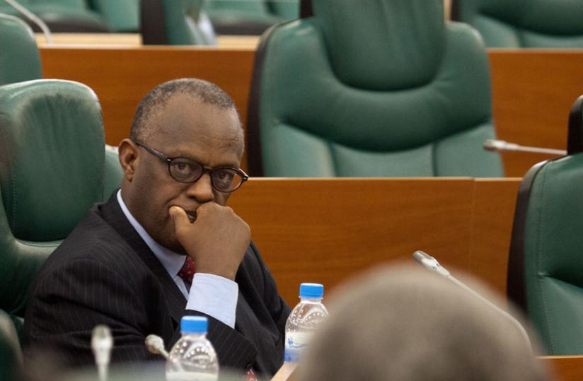 Dr Rwamasirabo listens to a question from a senator yesterday. (Timothy Kisambira)