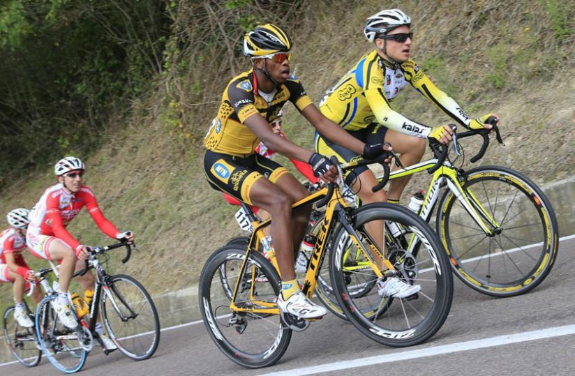 Lead cyclist Adrien Niyonshuti during  a World tour series recently. The Rwandan cyclist has extended his contract with MTN Qhubeka to 2015. (Courtesy)