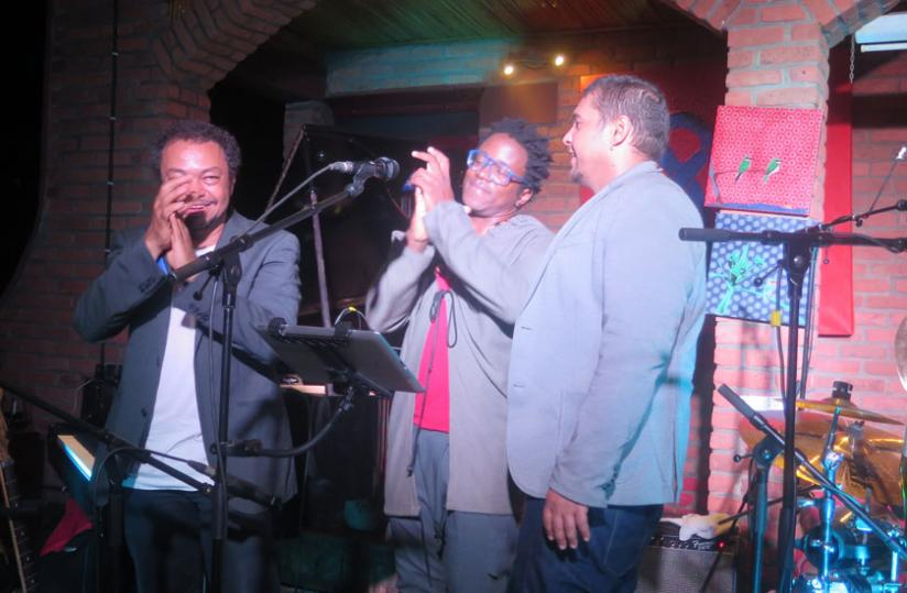 (L-R) Mario Canonge, Blick Bassy and Adriano Tenorriod after performing at Le Heaven Restaurant Tuesday night. (Stephen Kalimba)