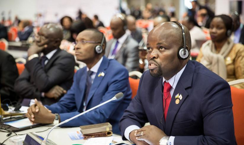 Minister Nsengimana addressing the ITU meeting in Busan, South Korea. (Courtesy).