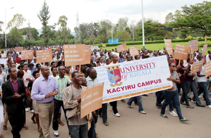 Anti-BBC demonstrators march to Parliament Buildings in Kigali where they presented their grievances yesterday. (John Mbanda)