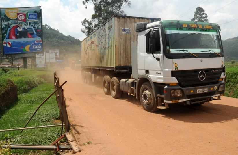 A goods truck crosses Gatuna border recently. (File)